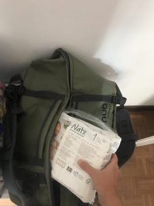 pannolini ecologici nella borsa per il parto